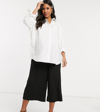 ASOS DESIGN Maternity cropped wide leg pants with pleat in crepe