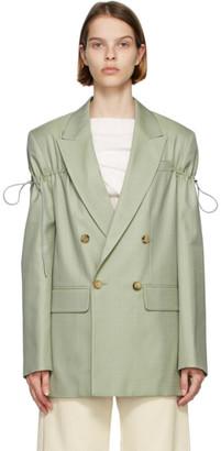 Nina Ricci Green Plaid Drawstring Double-Breasted Blazer