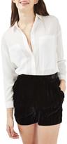 Topshop Velvet Frill Shorts