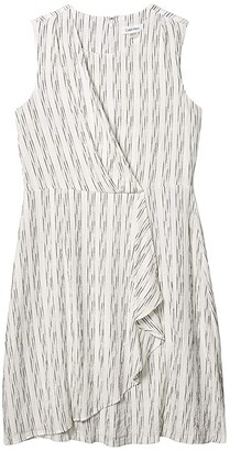 Calvin Klein Patterned Dress with Ruffle Detail (White/Black) Women's Dress
