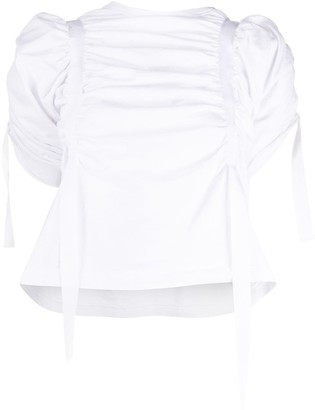 aganovich Ruched Short Sleeve Blouse