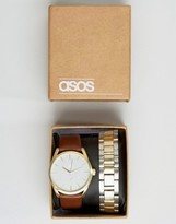 Asos Interchangeable Bracelet Watch In Silver And Gold