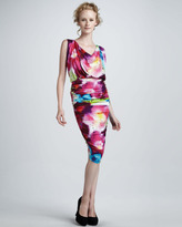Alice + Olivia Draped-Neck Dress with Ruched Skirt