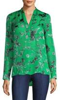Alice + Olivia Amos Floral Print Silk Tunic