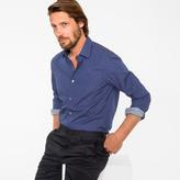Paul Smith Men's Tailored-Fit Navy 'Heart' Print Cotton 'Artist Stripe' Cuff Shirt