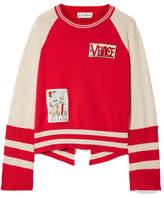 Mira Mikati Appliquéd Striped Cotton Sweater - Red