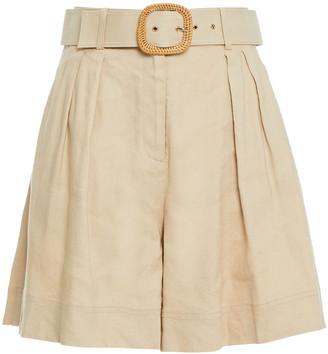 Rebecca Vallance Mojito Pleated Linen-blend Shorts