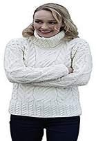 Carraigdonn Carraig Donn Ladies Cable Polo Neck Wool Irish Sweater