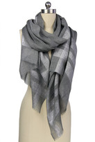 Saachi Grey Metallic Border Wool Wrap
