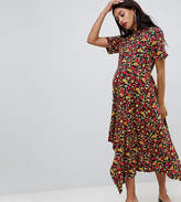 Asos Design Maternity Tea Dress With Asymmetric Hem In Floral Print