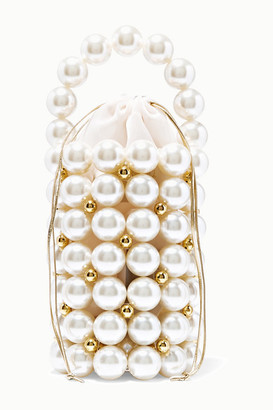 VANINA Comino Faux Pearl And Gold-tone Beaded Tote - White