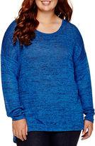 Arizona Long-Sleeve Hatchi Lace Top - Juniors Plus