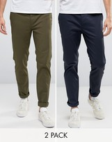 Asos 2 Pack Slim Chinos In Khaki And Navy Save