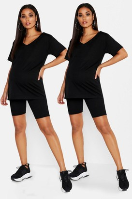 boohoo Maternity 2 pck Rib Cycling Short