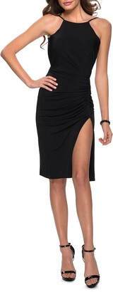 La Femme Open Back Sheath Dress
