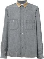 Sacai contrast collar shirt - men - Cotton/Linen/Flax - 2