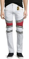 Robin's Jeans Contrast-Panel Moto Denim Jeans, White