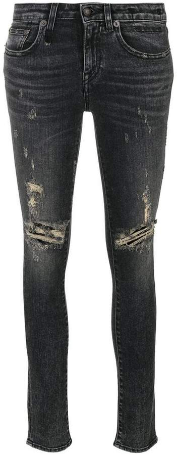 R 13 skinny distressed jeans