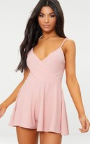 Fashstyl Pink Crepe Strappy Wrap Playsuit