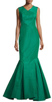 Zac Posen Sleeveless Open-Back Silk Faille Trumpet Gown, Leaf Green