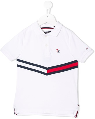 Tommy Hilfiger Junior striped panel polo shirt