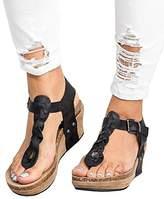 PiePieBuy Women Boho Braided Wedge Sandals T-Strap Platform Wedge Heel Sandal Shoes