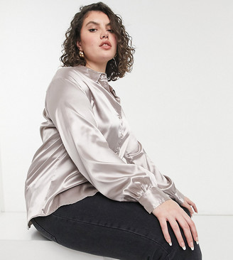 In The Style Plus exclusive satin oversized shirt in mushroom