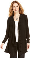 Style&Co. Top, Long-Sleeve Open-Front Draped Cardigan