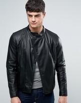 Armani Jeans Faux Leather Biker Jacket Slim Fit In Black