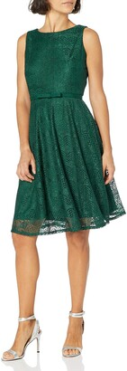 Gabby Skye Women's Petite Sleeveless Round Neck Belted Fit and Flare Crochet Lace Dress