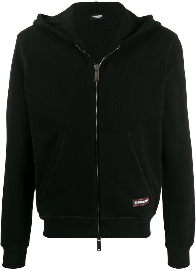 DSQUARED2 Logo Patch Zip-Front Hoodie