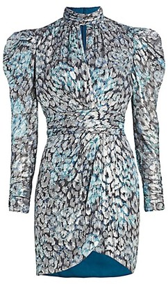 Jonathan Simkhai Metallic Jacquard Puff Sleeve Mini Dress