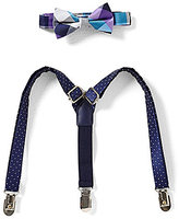 Starting Out Baby Boys Plaid Bow Tie & Dotted Suspender Set