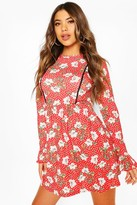 boohoo Floral Print Smock Dress With Lace Insert