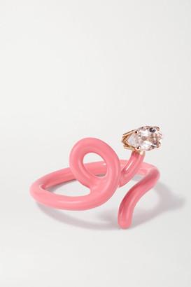 BEA BONGIASCA Baby Vine Tendril Rose Gold, Enamel And Rock Crystal Ring - Pink