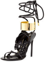 Tom Ford Strappy Leather Ankle-Cuff 105mm Sandal, Black