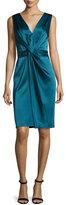 St. John Twisted Satin V-Neck Dress, Tanzanite
