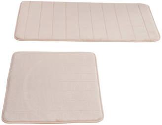 BEIGE Set of 2 Memory Foam Microfiber Bath Mats Lavish Home