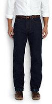 Classic Men's Regular Fit Flannel Lined Jeans-Deep Sea Blue