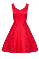 Quiz Red Jacquard Sweetheart Skater Dress