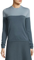Iris von Arnim Colorblock Crewneck Cashmere Sweater, Blue/Gray