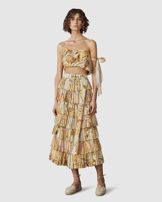 Leo & Lin Sun-Kissed Silk Linen Pleated Skirt