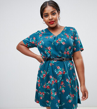Yumi Plus Floral print dress with studded belt-Green