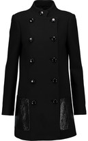 Michael Kors Leather-Trimmed Wool Coat