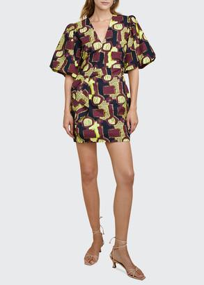 LES COYOTES DE PARIS Lily Printed Puff-Sleeve Dress