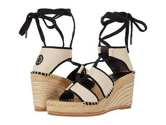 Tory Burch Color-Blocked 65 mm Lace-Up Espadrille (Cream/Perfect Black) Women's Shoes