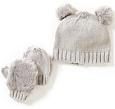 Starting Out Baby Girls Faux-Fur Ear Pom Beanie & Mittens Set
