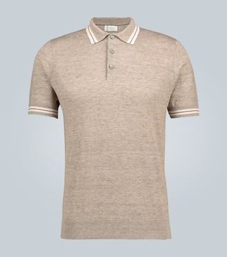 Brunello Cucinelli Knitted linen-cotton blend polo