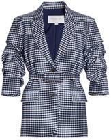 Michael Kors Crushed-Sleeve Fitted Plaid Blazer