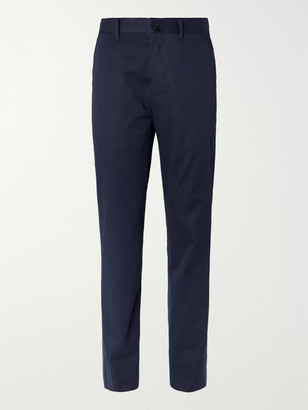 The Row Navy Hunter Slim-Fit Cotton And Cashmere-Blend Twill Trousers